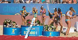 30.07.2016, Strandbad, Klagenfurt, AUT, FIVB World Tour, Beachvolleyball Major Series, Klagenfurt, Damen, im Bild Laura Ludwig (1, GER), Kira Walkenhorst (2, GER), Nadine Zumkehr (1, SUI), Joana Heidrich (2, SUI), Tanja Hüberli (1, SUI), Nina Betschart (2, SUI) // during the FIVB World Tour Major Series Tournament at the Strandbad in Klagenfurt, Austria on 2016/07/30. EXPA Pictures © 2016, PhotoCredit: EXPA/ Lisa Steinthaler
