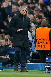 Chelsea Manager Jose Mourinho urges calmness after his side go 1-0 up - Photo mandatory by-line: Rogan Thomson/JMP - 07966 386802 - 11/03/2015 - SPORT - FOOTBALL - London, England - Stamford Bridge - Chelsea v Paris Saint-Germain - UEFA Champions League Round of 16 Second Leg.