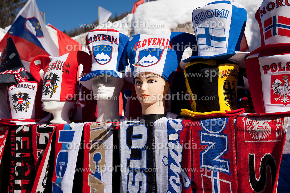 Fans shop during the Flying Hill Individual Competition at 2nd day of FIS Ski Jumping World Cup Finals Planica 2013, on March 22, 2012, in Planica, Slovenia. (Photo by Vid Ponikvar / Sportida.com)