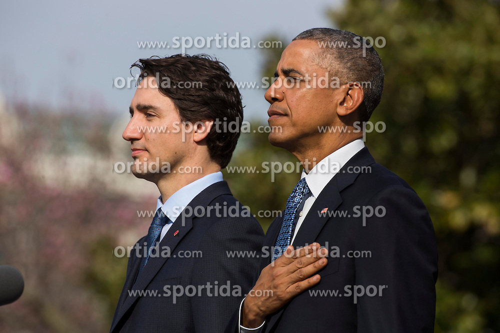 U.S. President Barack Obama (R) welcomes Prime Minister of Canada Justin Trudeau (L) at an arrival ceremony on the South Lawn of the White House, in Washington, DC, USA, 10 March 2016. This is the first official visit of Prime Minister of Canada Justin Trudeau to the White House. EXPA Pictures &copy; 2016, PhotoCredit: EXPA/ Photoshot/ Jim Loscalzo<br /> <br /> *****ATTENTION - for AUT, SLO, CRO, SRB, BIH, MAZ, SUI only*****