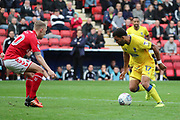 AFC Wimbledon striker Andy Barcham (17) taking on Charlton Athletic midfielder Chris Solly (20) during the EFL Sky Bet League 1 match between Charlton Athletic and AFC Wimbledon at The Valley, London, England on 28 October 2017. Photo by Matthew Redman.