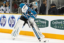 December 11, 2010; San Jose, CA, USA; San Jose Sharks goalie Antti Niemi (31) warms up before the game against the Chicago Blackhawks at HP Pavilion. San Jose defeated Chicago 2-1 in overtime. Mandatory Credit: Jason O. Watson / US PRESSWIRE