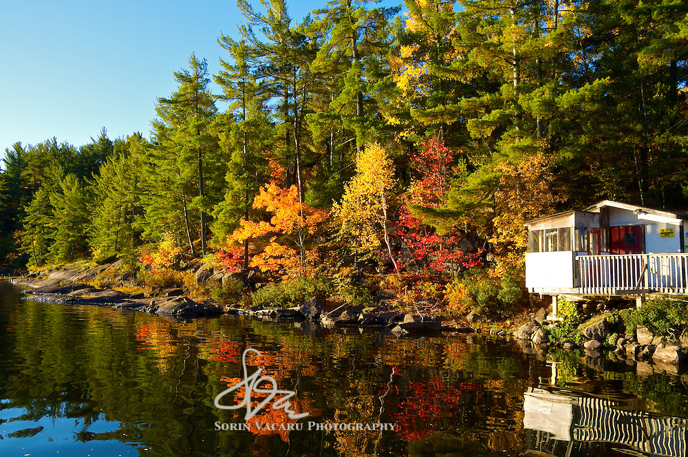 Spectacular fall morning on the French River, Ontario