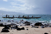 Sunset, Hawaiian outrigger canoe, Kanaha Beach Park, Maui, hawaii