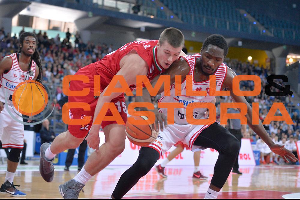 Kaleb Tarczewski, Landry Nnoko<br /> Consultinvest Victoria Libertas Pesaro - EA7 Emporio Armani Olimpia MIlano<br /> Lega Basket Serie A 2016/2017<br /> Pesaro, 30/04/2017<br /> Foto M.Ceretti / Ciamillo - Castoria