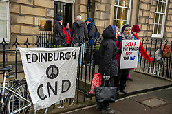 Pictured: Janet Fenton of the International Campaign to abolish Nuclear Weapons led Protestors from many organisation outside the Russian Consulate<br /><br />Campaigners staged a peaceful protest at the Russian consulate in Melville Street  and again at the US consulate on Regent Terrace in response to the breakdown of the Intermediate-Range Nuclear Forces Treaty.<br /><br />Ger Harley | EEm 4 February 2019