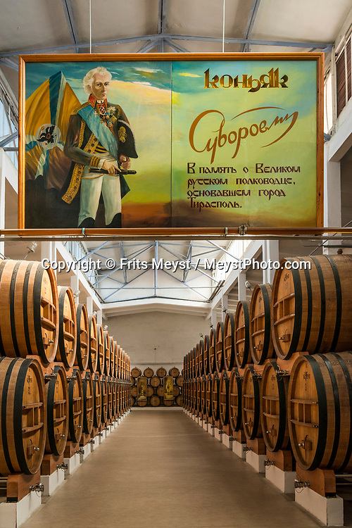 Tiraspol, Transnistria, June 2019. Kvint distillery makes produces quality 'Cognac', brandy or devin. Transnistria, or Transdniestria, officially the Pridnestrovian Moldavian Republic, is an unrecognised state that split off from Moldova after the dissolution of the USSR in 1993 and mostly consists of a narrow strip of land between the river Dniester and the territory of Ukraine. Photo by Frits Meyst / MeystPhoto.com