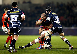 Schalk Burger of Saracens is tackled by Andrei Ostrikov of Sale Sharks - Mandatory by-line: Robbie Stephenson/JMP - 18/12/2016 - RUGBY - AJ Bell Stadium - Sale, England - Sale Sharks v Saracens - European Champions Cup