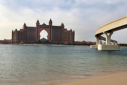 The Dubai Metro line by the side of the Atlantis Hotel at the end of the Palm Jumeirah, Dubai, November 2nd 2008. Photo by Andrew Parsons / i-Images