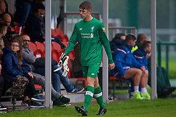 STOKE-ON-TRENT, ENGLAND - Saturday, September 9, 2017: Liverpool's goalkeeper Daniel Atherton looks dejected after being shown a red card and sent off during an Under-18 FA Premier League match between Stoke City and Liverpool at the Clayton Wood Training Ground. (Pic by Laura Malkin/Propaganda)