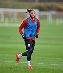 MANCHESTER, ENGLAND - Monday, March 18, 2019: Wales' Ashley Williams during a training session at Manchester United's Trafford Training Centre ahead of an international friendly match against Trinidad and Tobago. (Pic by David Rawcliffe/Propaganda)