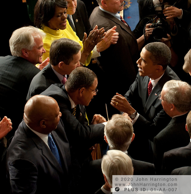 President Obama greets Rep. Dennis Kucinich prior to giving an address to a joint session of Congress to promote his health care reform agenda, Wednesday, September 9, 2009 at the US Capitol.