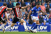 Birmingham City midfielder David Davis (26) takes on Sheffield United defender Enda Stevens (3) 0-0 during the EFL Sky Bet Championship match between Birmingham City and Sheffield United at St Andrews, Birmingham, England on 21 April 2018. Picture by Alan Franklin.