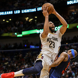 Apr 1, 2018; New Orleans, LA, USA; New Orleans Pelicans forward Anthony Davis (23) shoots over Oklahoma City Thunder forward Corey Brewer (3) during the second half at the Smoothie King Center. The Thunder defeated the Pelicans 109-104. Mandatory Credit: Derick E. Hingle-USA TODAY Sports