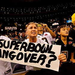 Oct 24, 2010; New Orleans, LA, USA; A New Orleans Saints fan holds up a sign from the stands during the second half of a game against the Cleveland Browns at the Louisiana Superdome. The Browns defeated the Saints 30-17.  Mandatory Credit: Derick E. Hingle