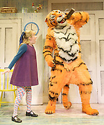 The Tiger Who Came To Tea<br /> by  Judith Kerr<br /> at the Vaudeville Theatre, London, Great Britain <br /> Press photocall<br /> 6th July 2011 <br /> <br /> Alan Atkins (as Tiger / Daddy)<br /> Abbey Norman (as Sophie)<br /> <br /> Photograph by Elliott Franks