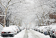 Falling snow blankets a street on the Upper West Side, New York City, during a winter snowstorm.