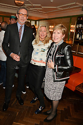 Left to right, ARNE GLIMCHER, MAIA NORMAN and MILLY GLIMCHER at a party hosted by Pace Gallery as part of Frieze 2015 held at 45 Jermyn Street, London on 15th October 2015.