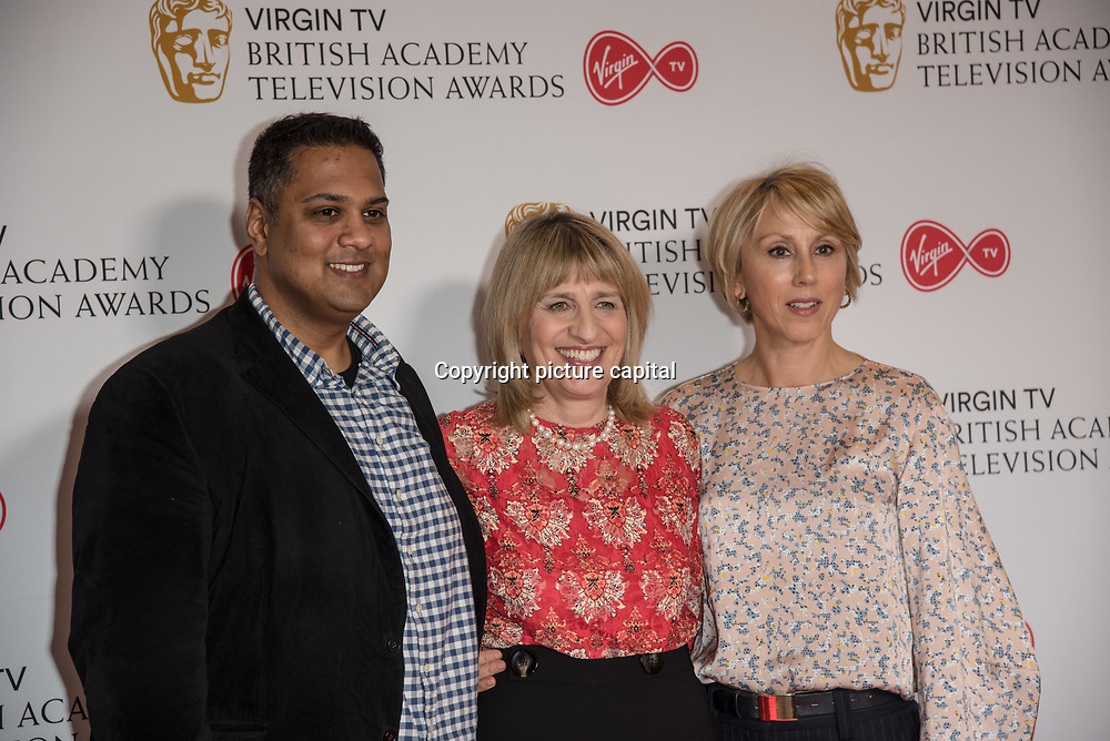 Krishnendu Majumdar, Jane Lush and Hannah Wyatt attend the Virgin TV BAFTA TV Nominations Press Conference, London, UK - 04 April 2018 at BAFTA, Piccadilly, London, UK.