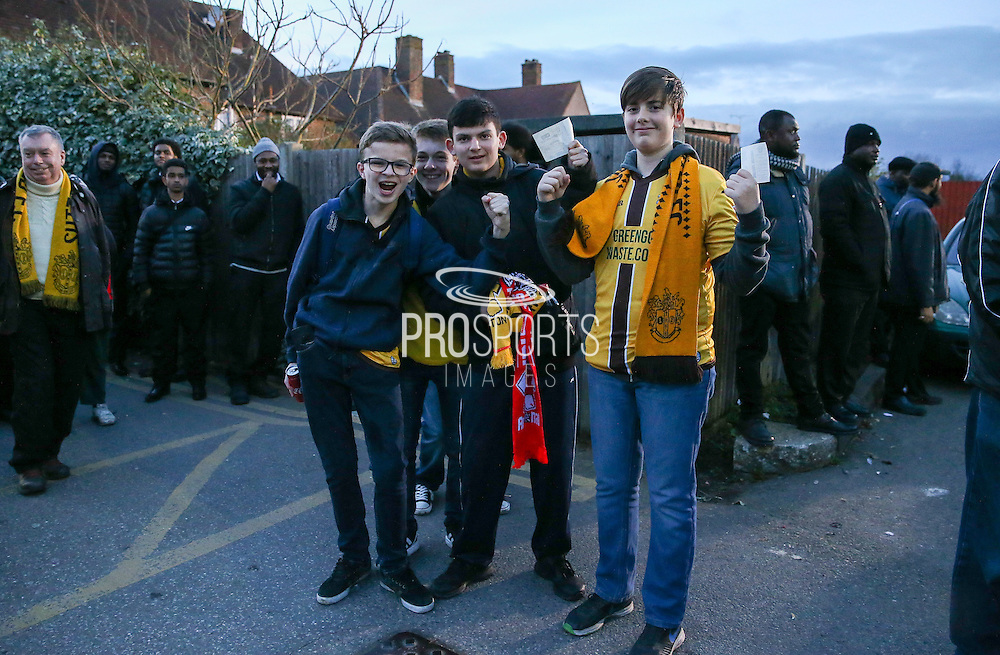 Sutton United fans with match tickets before The FA Cup match between Sutton United and Arsenal at Gander Green Lane, Sutton, United Kingdom on 20 February 2017. Photo by Phil Duncan.