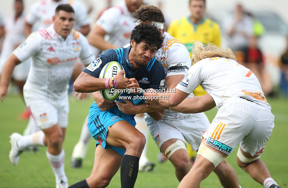 Blues player Melanie Nanai in action during the Blues vs Chiefs pre season Super Rugby match played at Alexandra Park in Auckland on the 17th February 2017. <br /> Credit; Peter Meecham/ www.photosport.nz