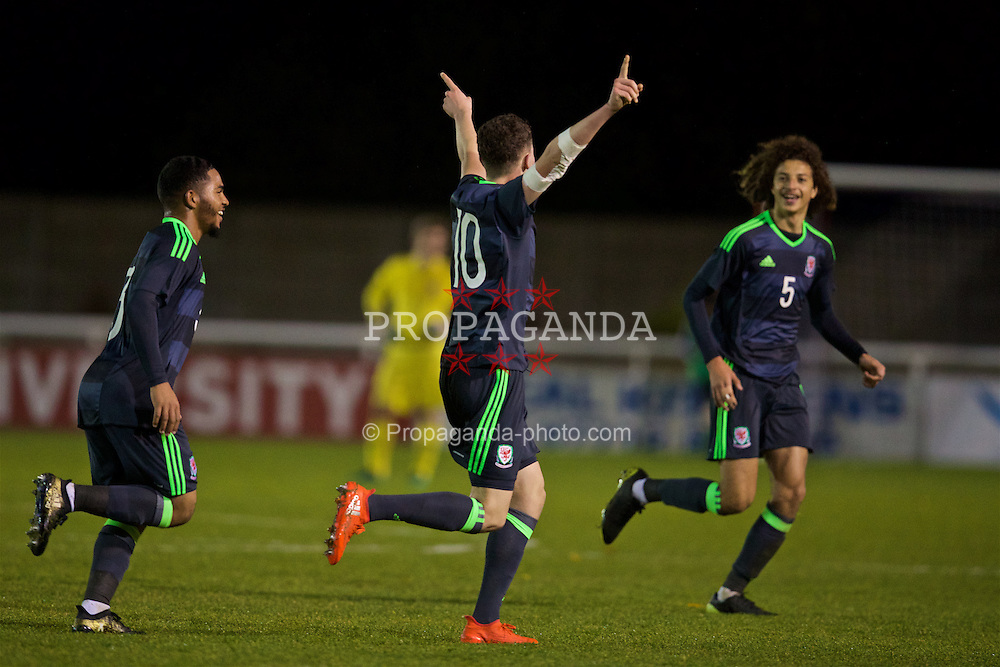 BANGOR, WALES - Tuesday, November 15, 2016: Wales' Nathan Broadhead celebrates scoring the fifth goal against Luxembourg during the UEFA European Under-19 Championship Qualifying Round Group 6 match at the Nantporth Stadium. (Pic by David Rawcliffe/Propaganda)