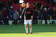Phil Jones of Manchester United in the warm up during the Barclays Premier League match between Watford and Manchester United at Vicarage Road, Watford, England on 21 November 2015. Photo by Phil Duncan.