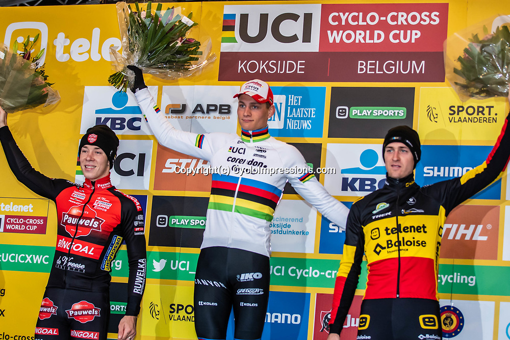 2018-11-24: Cycling: CX Worldcup: Koksijde: Mathieu van der Poel wins ahead of Laurens Sweek and Toon Aerts