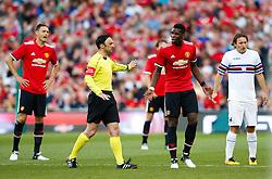 Paul Pogba and Nemanja Matic of Manchester United reacts towards the referee - Mandatory by-line: Matt McNulty/JMP - 02/08/2017 - FOOTBALL - Aviva Stadium - Dublin,  - Manchester United v Sampdoria - Pre-Season friendly