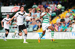 Yeovil Town's Gozie Ugwa breaks past the defence with only the keeper to beat - Photo mandatory by-line: Dougie Allward/Josephmeredith.com  - Tel: Mobile:07966 386802 01/09/2012 - SPORT - FOOTBALL - League 1 -  Yeovil  - Huish Park -  Yeovil Town v Doncaster Rovers