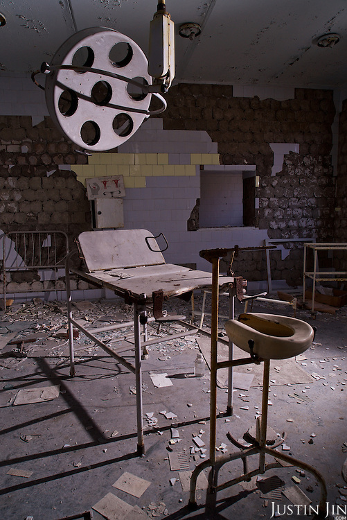 A maternity ward in a hospital in Pripyat, a ghost town left deserted by the nuclear disaster in the Chernobyl power station nearby. 30 years on, the city is still heavily contaminated, unfit for human life. <br /> <br /> The Chernobyl nuclear disaster happened on 26 April 1986.