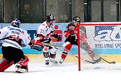28.09.2013, Zimni Stadion, Zneim, CZE, EBEL, HC Orli Znojmo vs HC TWK Innsbruck, 12. Runde, im Bild Adam Havlik (Znojmo #88) Adam Munro (Innsbruck #51) ChristophHortnagl (Innsbruck #22) // during the Erste Bank Icehockey League 12th round match betweeen HC Orli Znojmo and HC TWK Innsbruck  at the Zimni Stadium, Znojmo, Czech Republic on 2013/09/28. EXPA Pictures © 2013, PhotoCredit: EXPA/ Rostislav Pfeffer