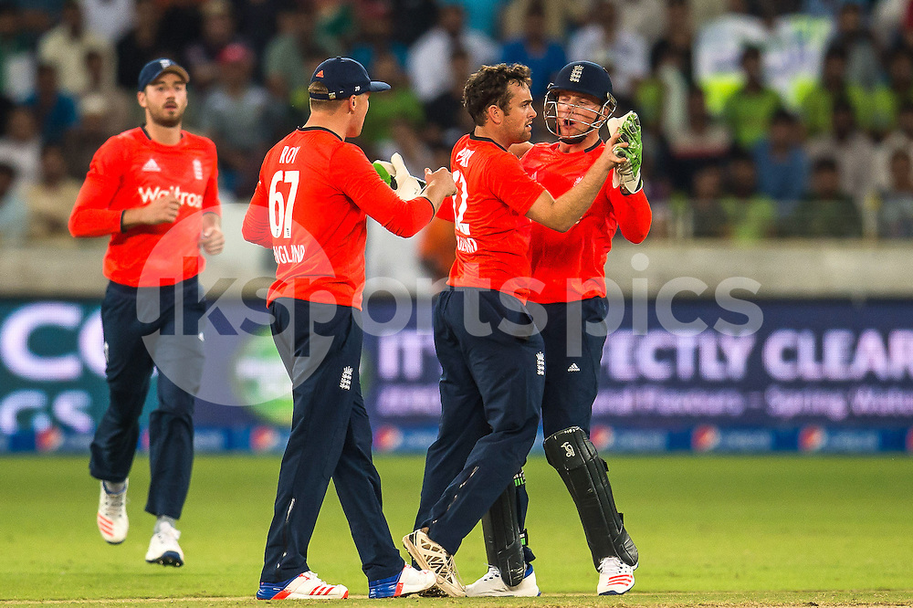 Stephen Parry and Jos Buttler, Captain of England celebrate the wicket of Ahmed Shehzad of Pakistan during the 2nd International T20 Series match between Pakistan and England at Dubai International Cricket Stadium, Dubai, UAE on 27 November 2015. Photo by Grant Winter.