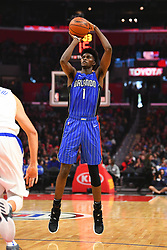 January 6, 2019 - Los Angeles, CA, U.S. - LOS ANGELES, CA - JANUARY 06: Orlando Magic Forward Jonathan Isaac (1) shoots a three pointer during a NBA game between the Orlando Magic and the Los Angeles Clippers on January 6, 2019 at STAPLES Center in Los Angeles, CA. (Photo by Brian Rothmuller/Icon Sportswire) (Credit Image: © Brian Rothmuller/Icon SMI via ZUMA Press)