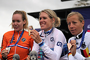 Women time trial, Anna Van der Breggen (Netherlands) silver medal medal, Ellen van Dijk (Netherlands) gold medal and Trixi Worrack (Germany) bronze medal during the Road Cycling European Championships Glasgow 2018, in Glasgow City Centre and metropolitan areas Great Britain, Day 7, on August 8, 2018 - Photo Laurent Lairys / ProSportsImages / DPPI