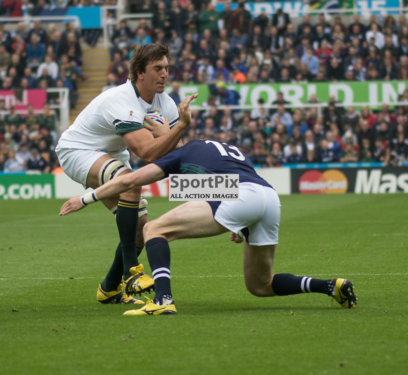 South Africa #4. Eben Etzebeth IS TACKLED BY SCOTLAND'S Stuart Hogg..  South Africa v Scotland, 3rd October 2015