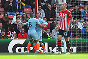 Goal - Eden Hazard (10) of Chelsea celebrates scoring a goal to give a 0-1 lead to the away team with Ross Barkley (8) of Chelsea during the Premier League match between Southampton and Chelsea at the St Mary's Stadium, Southampton, England on 7 October 2018.