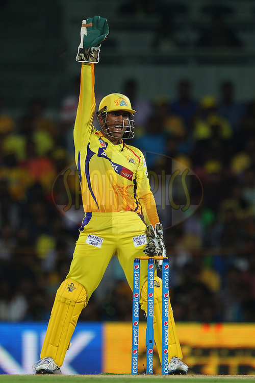 MS Dhoni captain of the Chennai Superkings appeals for the wicket of Murali Vijay of Kings XI Punjab  during match 24 of the Pepsi IPL 2015 (Indian Premier League) between The Chennai Superkings and The Kings XI Punjab held at the M. A. Chidambaram Stadium, Chennai Stadium in Chennai, India on the 25th April 2015.<br /> <br /> Photo by:  Ron Gaunt / SPORTZPICS / IPL