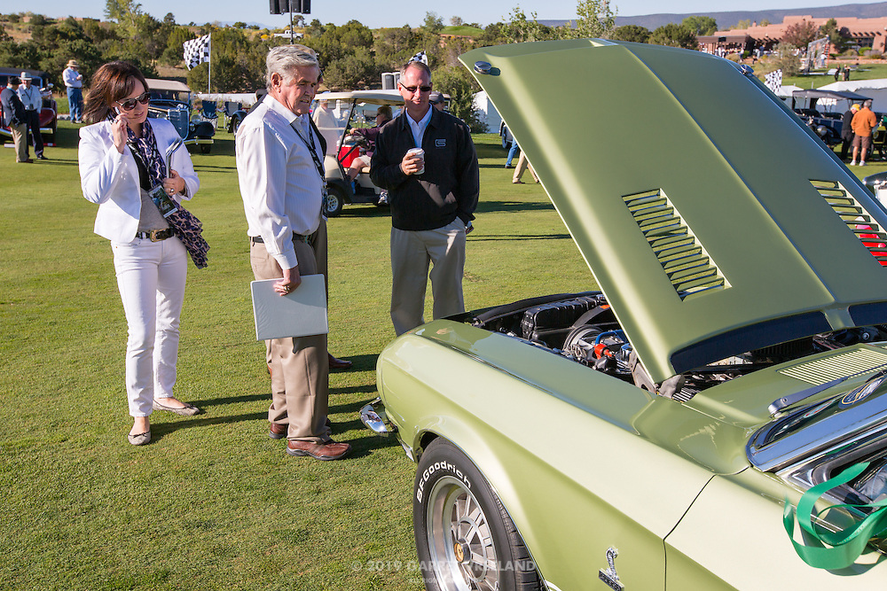 Al Unser judging the 1968 Shelby Mustang GT500 Convertible in the Shelby Paddock at the 2012 Santa Fe Concorso.