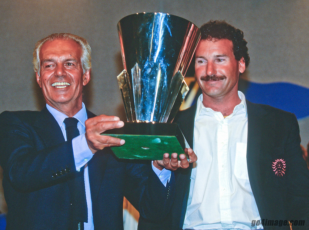 1992 Syndicate head Raoul Gardini and skipper Paul Cayard of Il Moro di Venezia, hold the Louis Vuitton Cup as winners of the America's Cup Challenger elimination series which earned them the right to challenge the SDYC for the cup.         Daniel Forster