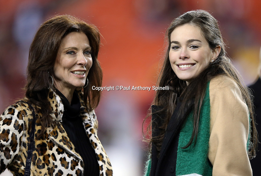 (L-R) Dallas Cowboys Executive Vice President / Chief Brand Officer Charlotte Jones Anderson and her niece Jessica Jones, daughter of Cowboys executive Stephen Jones, smile during a sideline visit before the 2015 week 13 regular season NFL football game against the Washington Redskins on Monday, Dec. 7, 2015 in Landover, Md. The Cowboys won the game 19-16. (©Paul Anthony Spinelli)