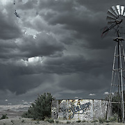 Graffiti on a windmill in Navajoland