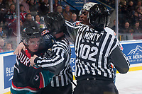 KELOWNA, CANADA - SEPTEMBER 22: Linesmen Dustin Minty and Cody Wanner get between Konrad Belcourt #5 of the Kelowna Rockets and Jermaine Loewen #32 of the Kamloops Blazers on September 22, 2017 at Prospera Place in Kelowna, British Columbia, Canada.  (Photo by Marissa Baecker/Shoot the Breeze)  *** Local Caption ***