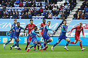 Wigan Athletic defender Cheyenne Dunkley (22) clears the danger during the EFL Sky Bet Championship match between Wigan Athletic and Nottingham Forest at the DW Stadium, Wigan, England on 20 October 2019.