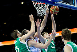 Pau Gasol of Spain between Erazem Lorbek of Slovenia and Matjaz Smodis of Slovenia during basketball game between National basketball teams of Spain and Slovenia at Quarterfinals of FIBA Europe Eurobasket Lithuania 2011, on September 14, 2011, in Arena Zalgirio, Kaunas, Lithuania. Spain defeated Slovenia 86-64. (Photo by Vid Ponikvar / Sportida)