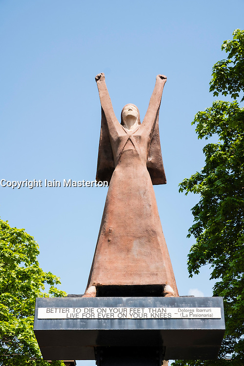 La Pasionaria Statue.depicting  Dolores Ibárruri  by Arthur Dooley on Clyde Street central Glasgow, United Kingdom