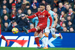 LIVERPOOL, ENGLAND - Saturday, February 24, 2018: Liverpool's Alex Oxlade-Chamberlain during the FA Premier League match between Liverpool FC and West Ham United FC at Anfield. (Pic by David Rawcliffe/Propaganda)