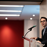 April 17, 2018 - New York, NY : The New York Times hosted Bill Nye for a conversation about climate change with New York Times science writer James Gorman and NYC Rising producer Geraldine Moriba at the Times building on Tuesday evening. Here, the Wirecutter's David Perpich makes introductions. CREDIT: Karsten Moran for The New York Times