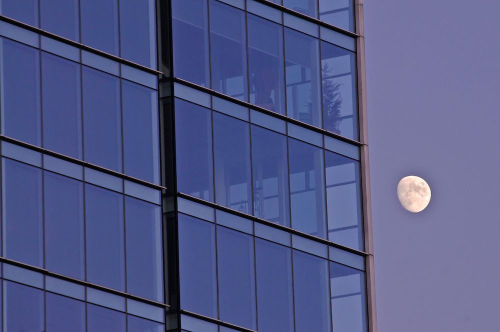 Windows With Moon,  Apartment Building Perry West Designed by Richard Meier. 173 Perry Street,  Late Modern, International Style 3, NYC, New York