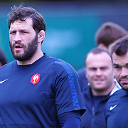 French player Lional Nallet (left) at the French teams training session at Onewa Domain, Auckland in preparation for the Rugby World Cup Final against New Zealand at the IRB Rugby World Cup tournament, Auckland, New Zealand, 19th October 2011. Photo Tim Clayton...